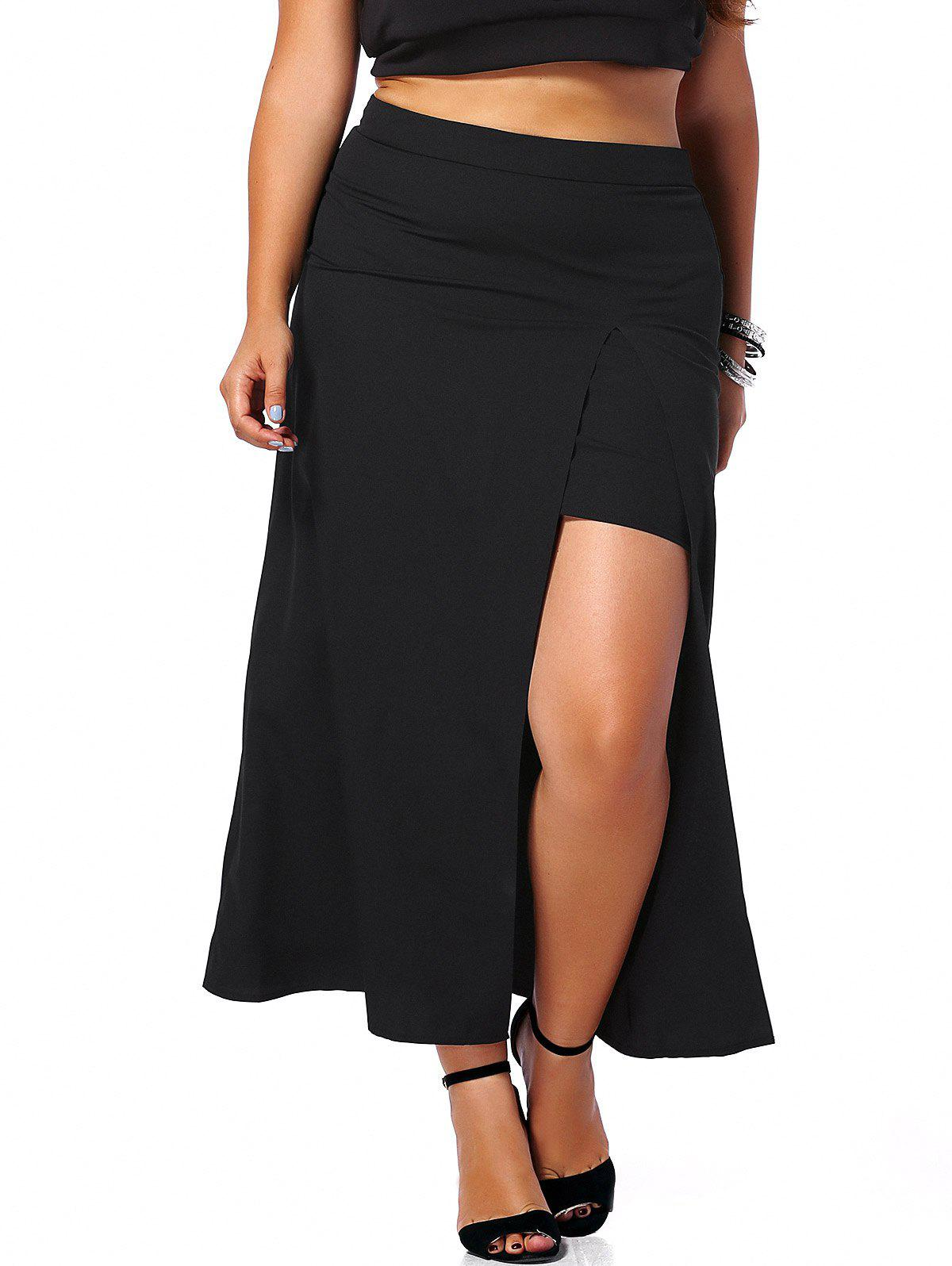 Alluring Plus Size High Slit Black Women's Maxi Skirt - BLACK 5XL