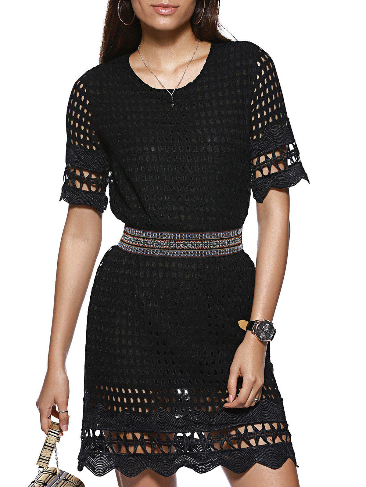 Fashionable Short Sleeve Scoop Collar Black Slimming Hollow Out Women's Dress - BLACK ONE SIZE(FIT SIZE XS TO M)