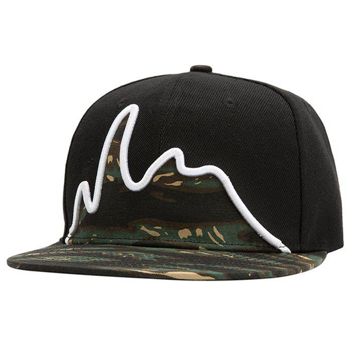 Stylish Bouncing Stripe Embroidery Camouflage Pattern Men's Baseball Cap - BLACK