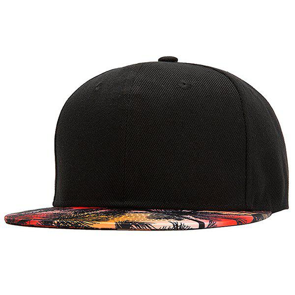 Stylish 3D Tropical Palm Tree Pattern Brim Hip Hop Youthful Skate Black Baseball Cap - BLACK