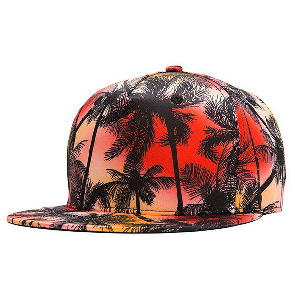 Stylish 3D Tropical Palm Tree Printed Hip Hop Youthful Skate Black Baseball Cap - RED