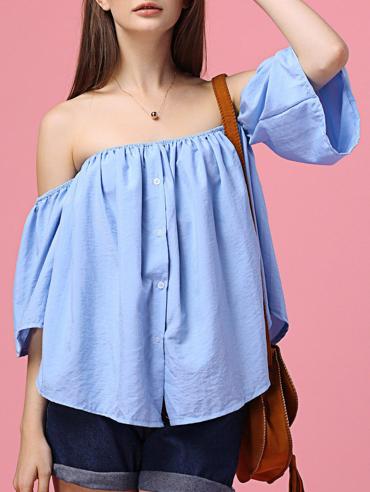 Sweet Off-The-Shoulder Flare Sleeves Blue Shirt For Women