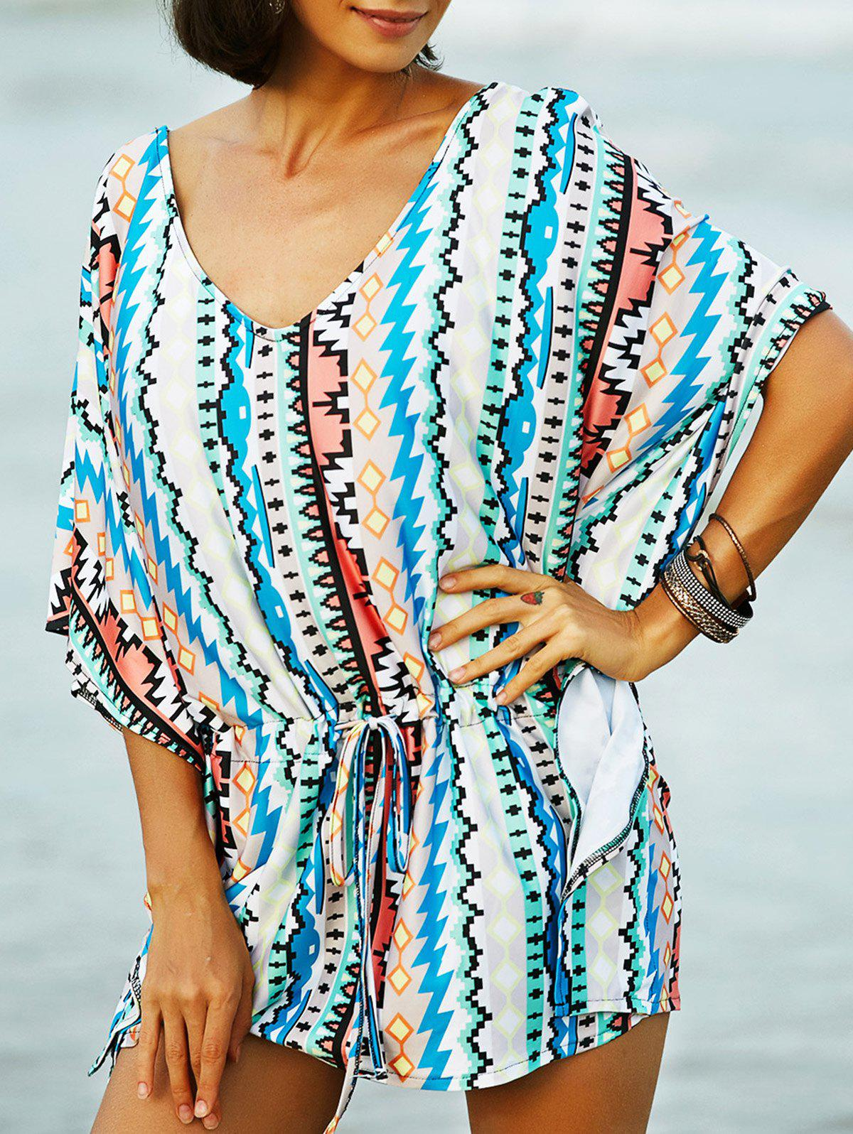 Stylish Plunging Neck Bat-Wing Sleeve Printed Women's Romper - BLUE M