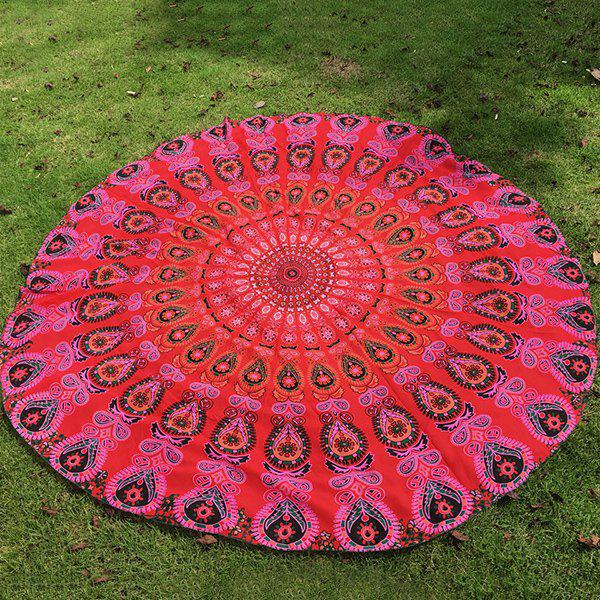 Ethnic Style Bikini Boho Paisley Print Chiffon Round Beach Throw Scarf - RED