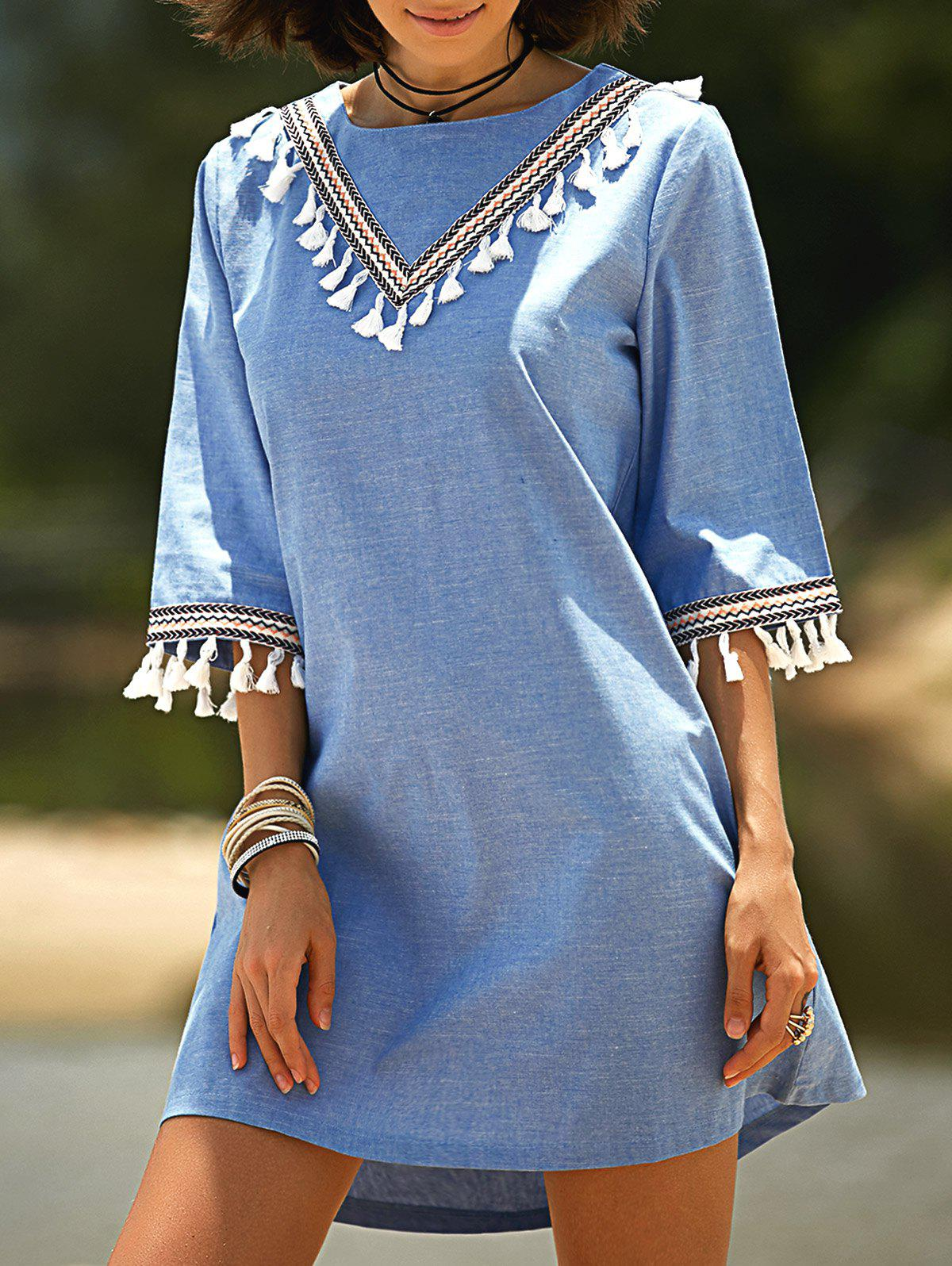 Stylish Round Neck 3/4 Sleeve Lace Hook Denim Women's Dress - BLUE M