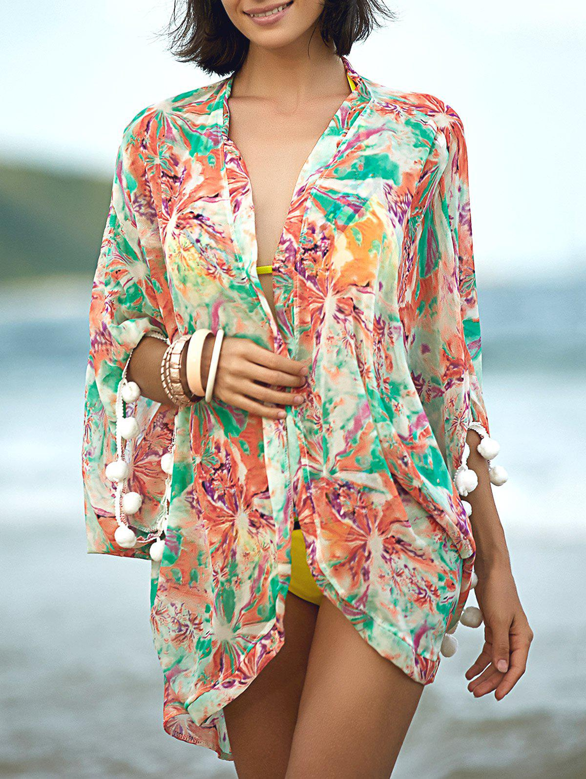Fashion 3/4 Sleeve Print Cover Up For Women - COLORMIX XL