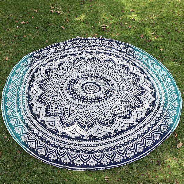 Bohemian Bikini Boho Swimwear Lotus Flower Totem Printed Chiffon Round Beach Throw Scarf - DEEP BLUE