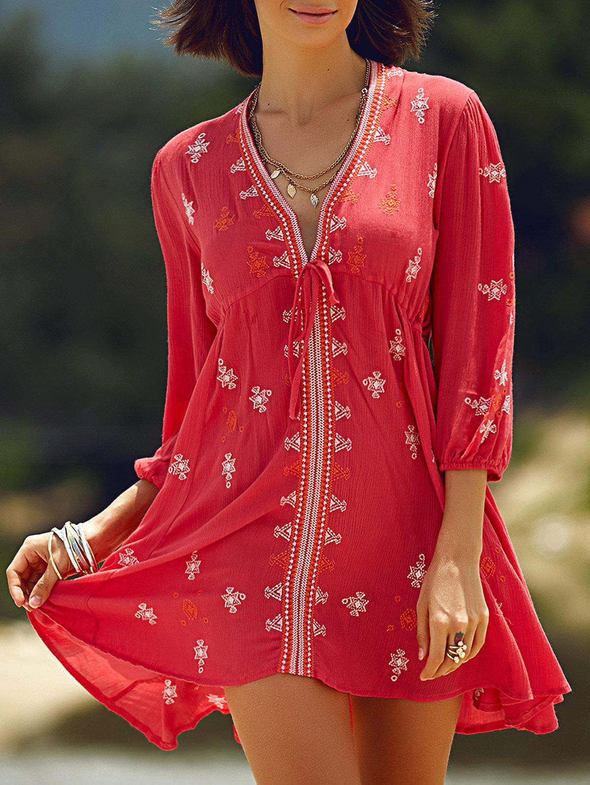 Stylish Plunging Neck 3/4 Sleeve Retro Embroidery Women's Dress