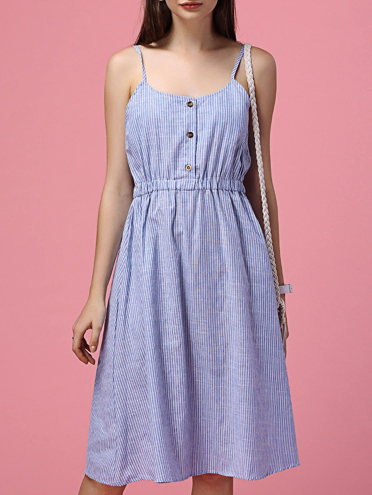 Refreshing Spaghetti Strap Striped Waist-Controlled Dress For Women - LIGHT BLUE ONE SIZE(FIT SIZE XS TO M)