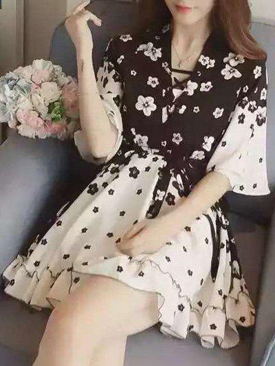 Chic Women's Lace Up Floral Print Dress - BLACK L