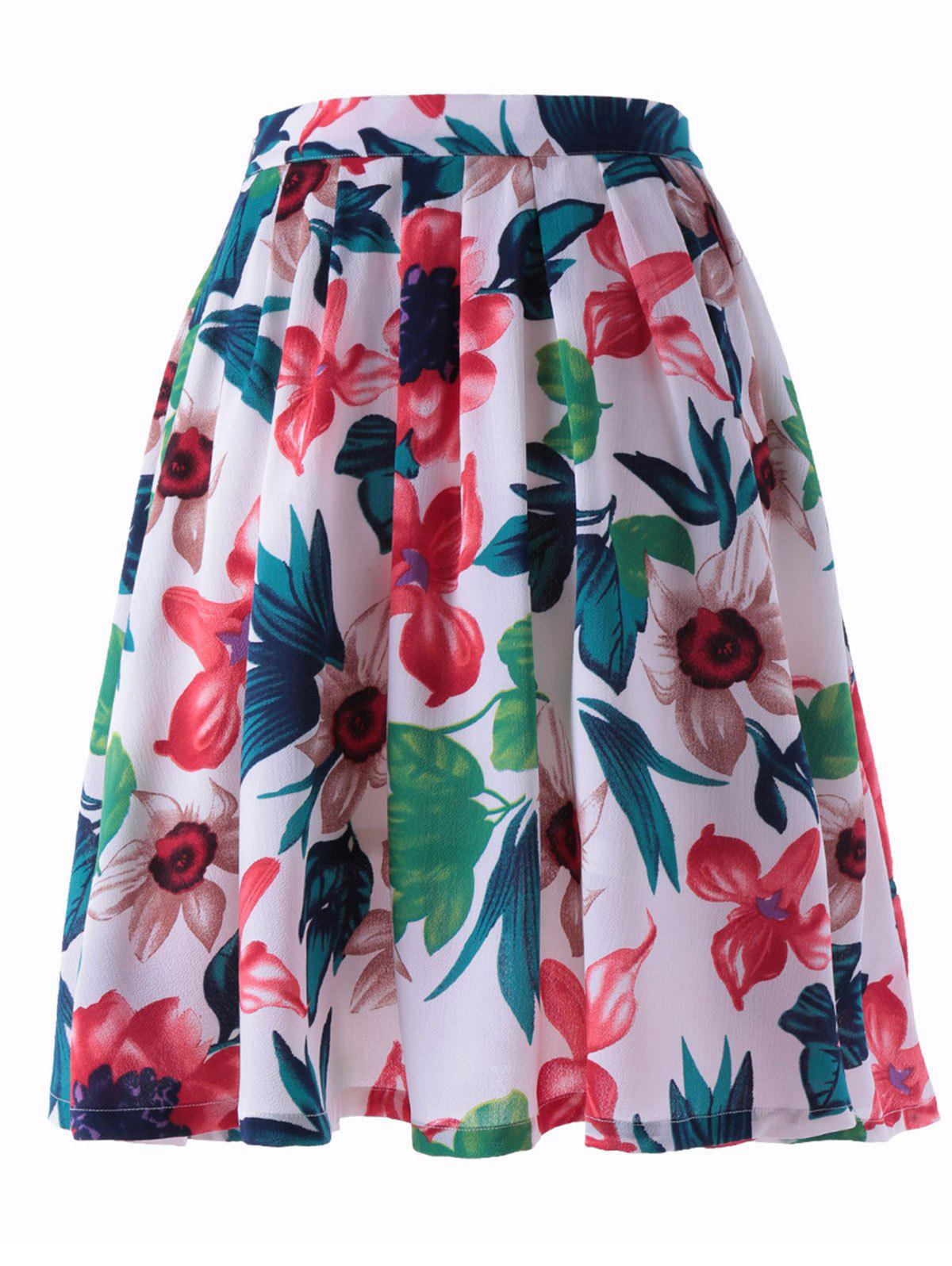 Stylish Printed Pleating Skirts For Women - COLORMIX L
