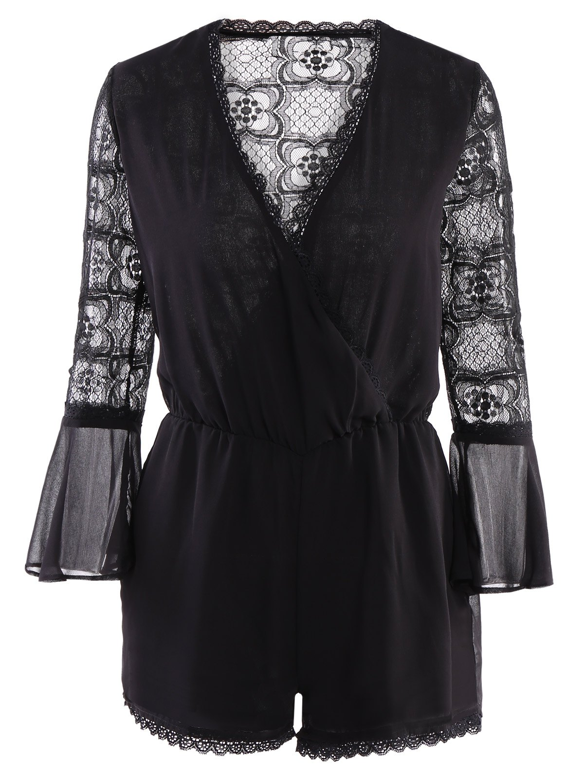Stylish Style V-Neck Lace Splicing See-Through Long Sleeve Romper For Women - BLACK XS