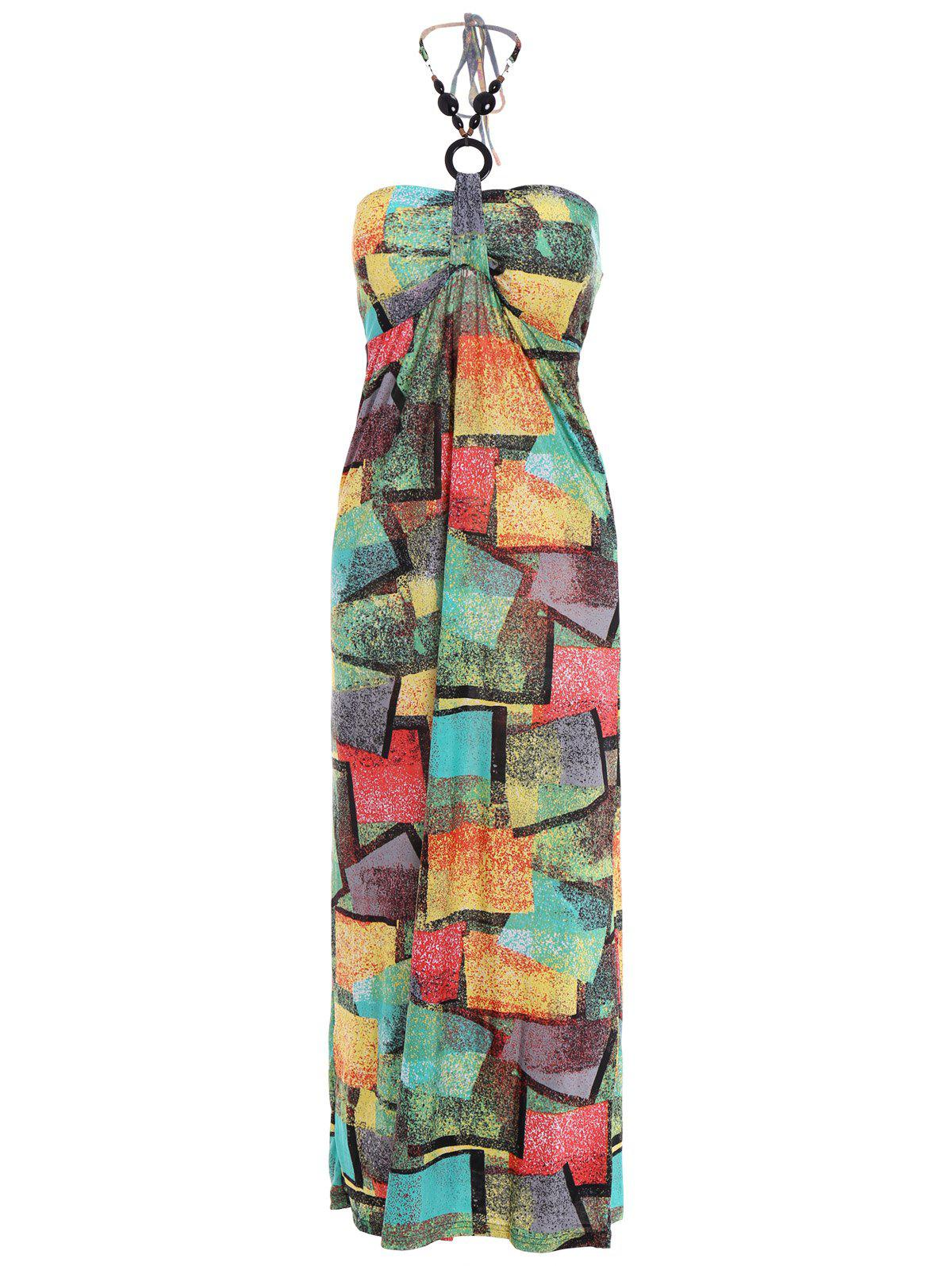 Bohemian Halter Neck Sleeveless Printed Women's Dress - GREEN M