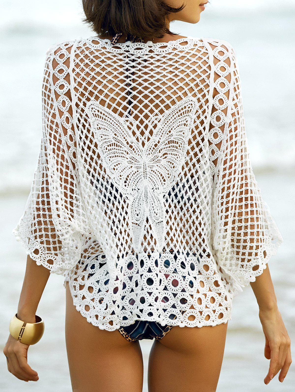 Hollow Out Butterfly Pattern Cover-Up - WHITE ONE SIZE(FIT SIZE XS TO M)