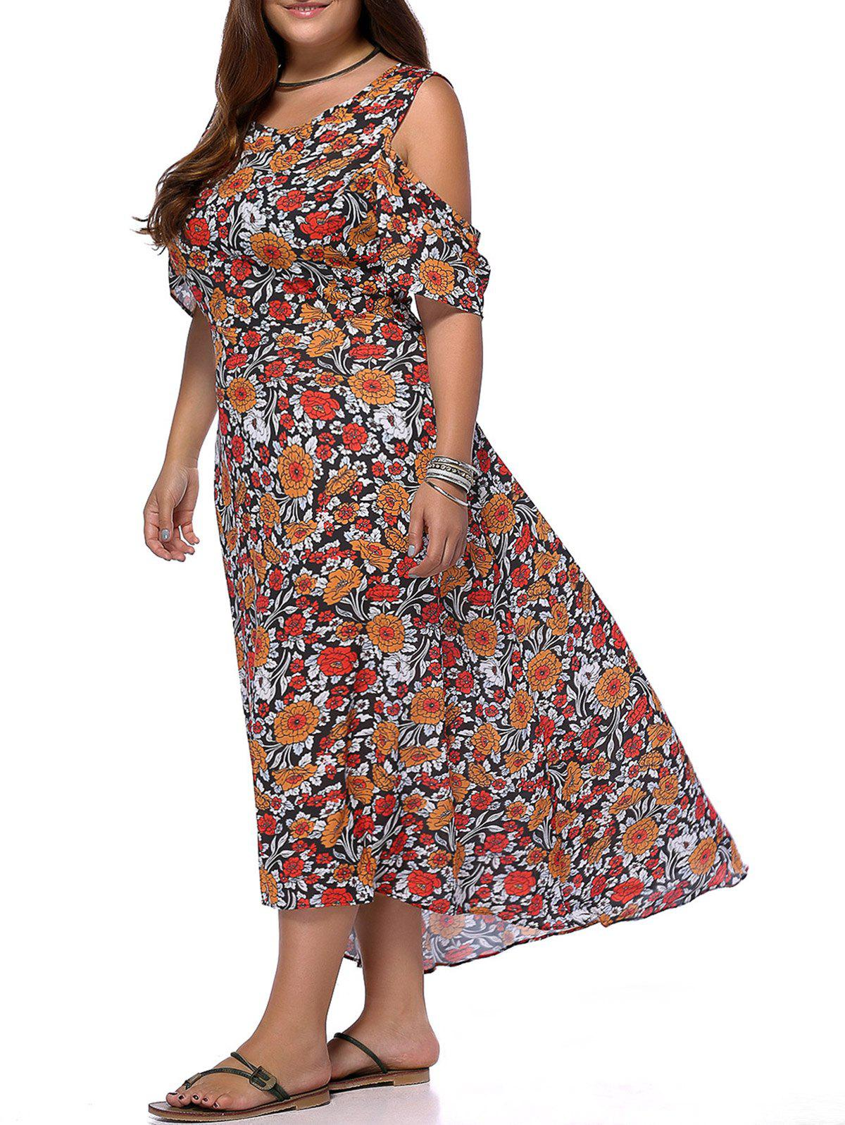 Chic Plus Size Cold Shoulder High Low Hem Women's Floral Print Dress - COLORMIX 5XL