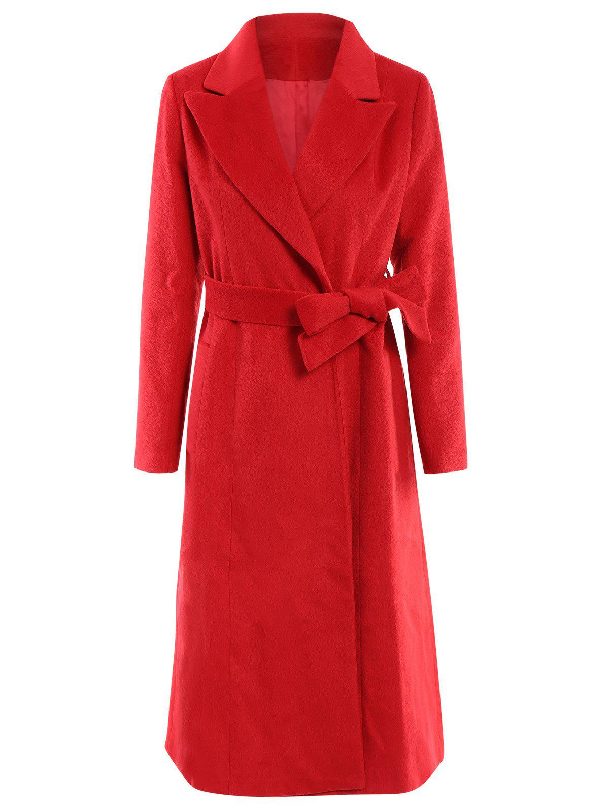 Noble Solid Color Lapel Extra Long Wool Coat For Women - RED 3XL