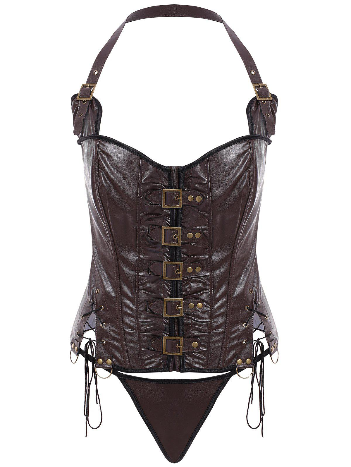 Stylish Solid Color Halter PU Leather Corset For Women - COFFEE S