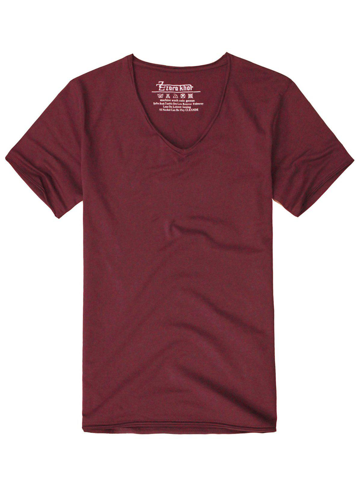 Men 39 s solid color short sleeves t shirt claret m in t for Solid color short sleeve dress shirts