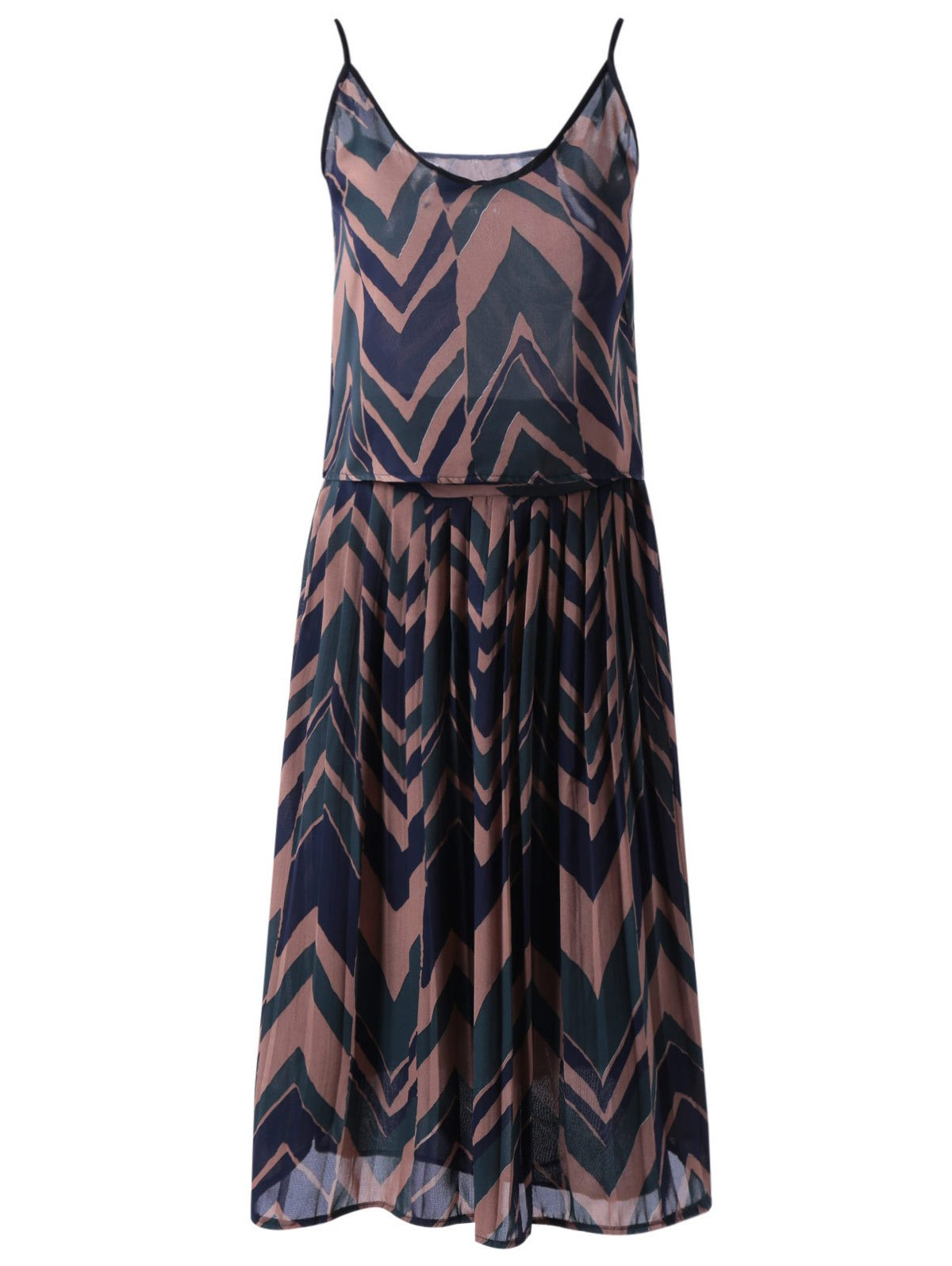 Stylish Women's Spaghetti Strap Geometric Print Crop Top and Pleated Skirt Set