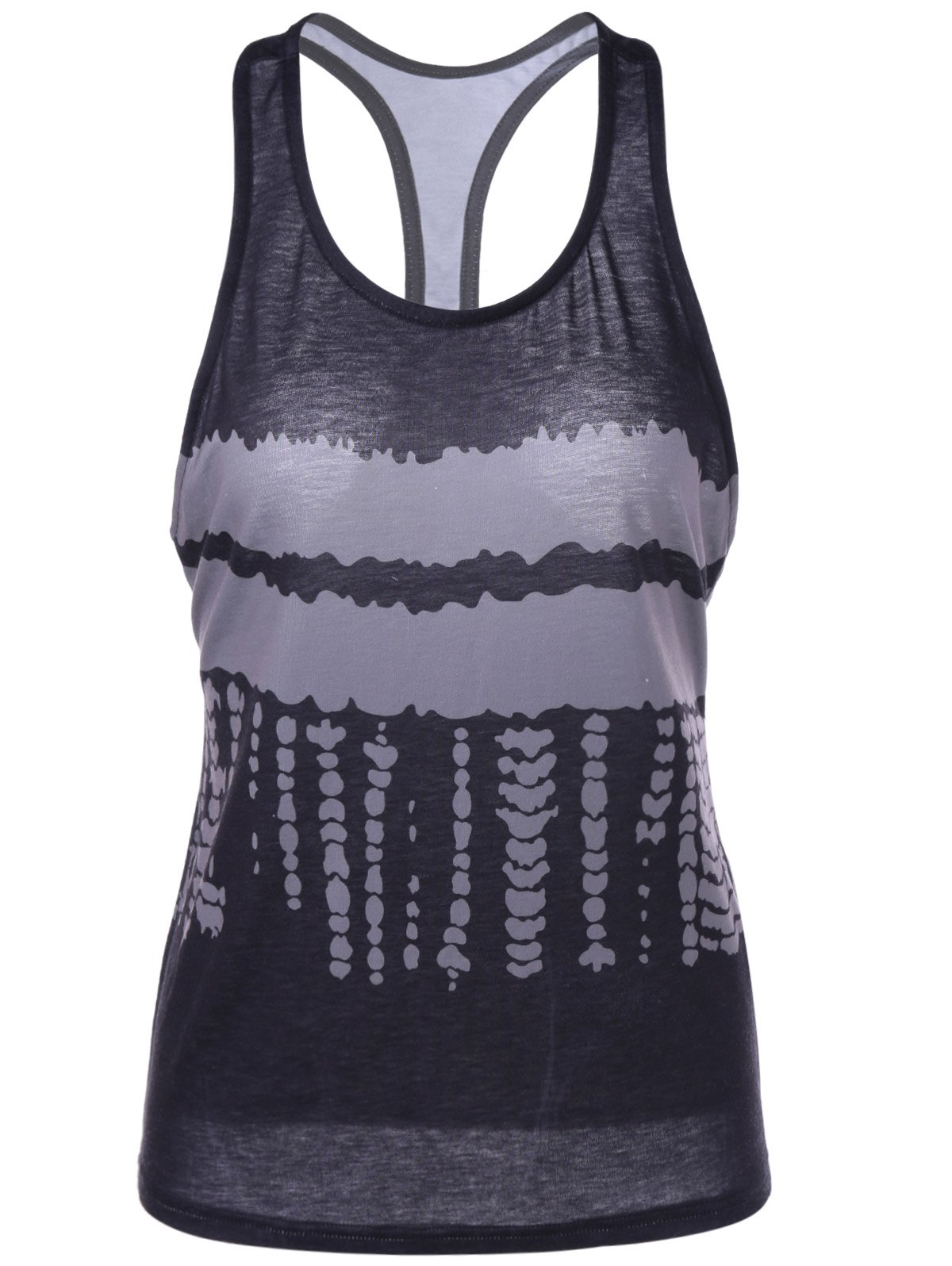 Fashionable Sleeveless U-Neck Racerback Tank Top For Women - INK PAINTING L