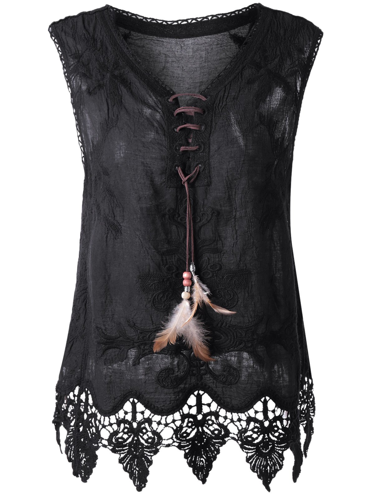 Bohemian Women's Lace-Up Crochet Sleeveless Top - BLACK ONE SIZE(FIT SIZE XS TO M)