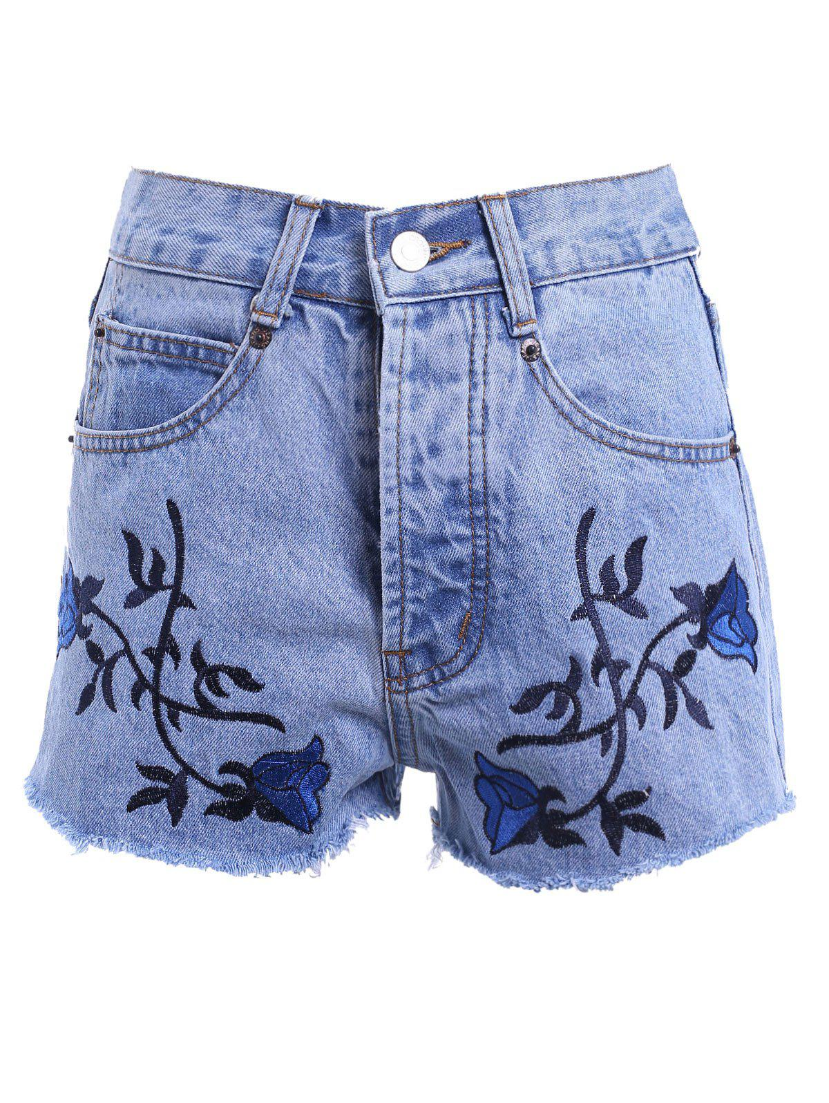 Vintage Style Women's High Waist Raw Edged Floral Embellished Denim Shorts - LIGHT BLUE 3XL
