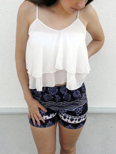 Trendy Women's  White Flounced Tank Top and Printed Shorts Twinset - WHITE M