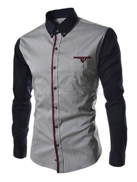 Casual Button-down Color Block Long Sleeves Shirts For Men - DEEP GRAY XL