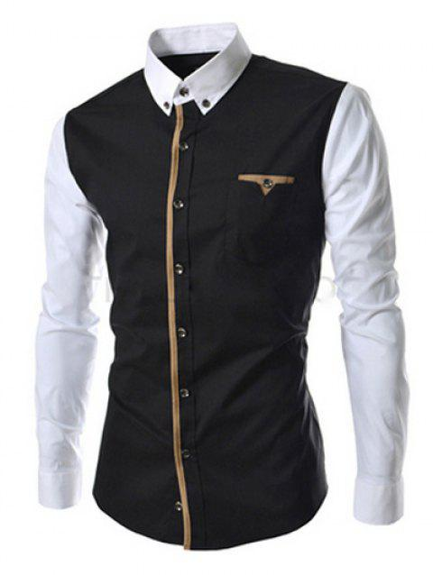Casual Button-down Color Block Long Sleeves Shirts For Men - BLACK M
