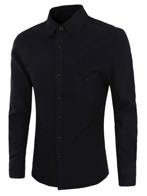 Casual Plus Size Button-down Long Sleeves Solid Color Shirts For Men - BLACK M