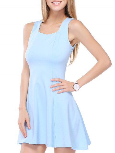 Flounced Square Neck Summer Dress - LIGHT BLUE S