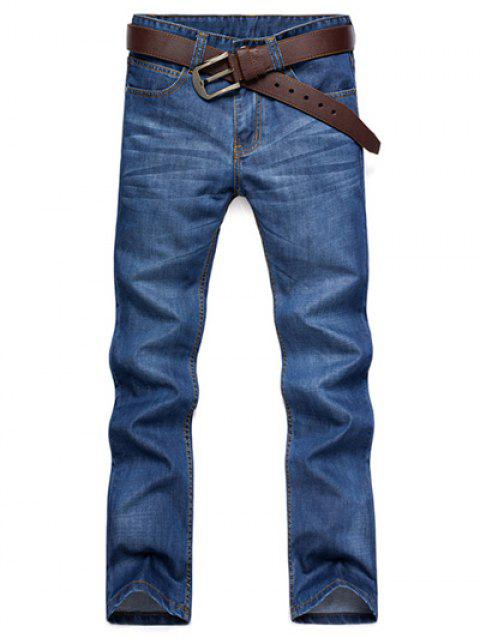 Cat Casual Straight Leg  's Whisker Patch Pocket Aménagée Men ' Zipper Fly Jeans - Bleu profond 32