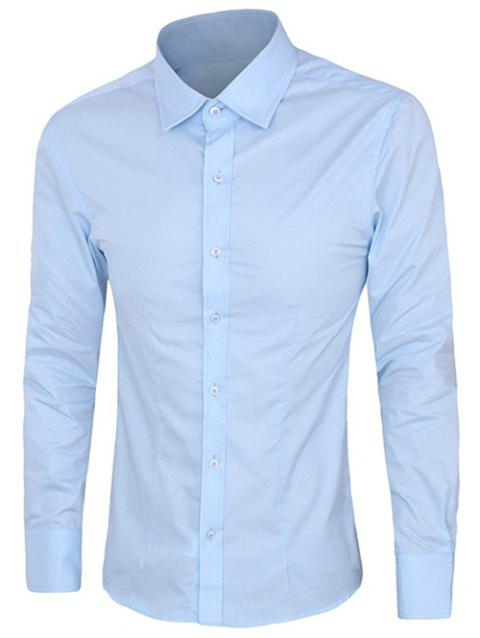 Casual Plus Size Long Sleeves Solid Color Shirts For Men - LIGHT BLUE 2XL