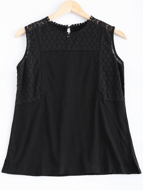 Casual Women's Lace Openwork Tank Top - BLACK ONE SIZE(FIT SIZE XS TO M)