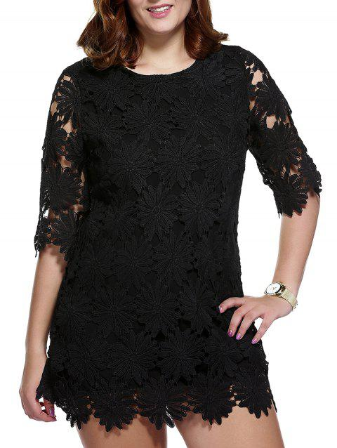 b7101a4aae8 Stylish Women s Plus Size Floral Pattern Lace Overlay Dress - BLACK ONE SIZE(FIT  SIZE