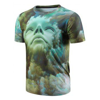 Modish Round Neck 3D Abstract Face Pattern Short Sleeve Men's T-Shirt
