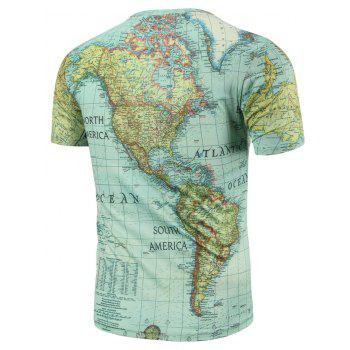 Casual Round Neck World Map Print Men's Short Sleeves T-Shirt - 2XL 2XL