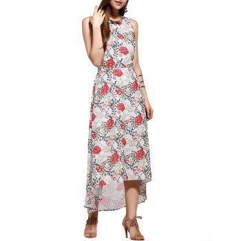 Fashionable Women's  U-Neck Floral Printed Chiffon Mid-Calf Dress