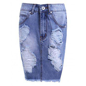 Trendy High Waist Ripped Raw Edged High Low Women's Denim Jean Pencil Skirt