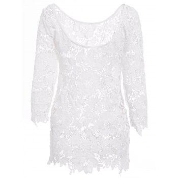 Sexy Round Neck 3/4 Sleeve Crochet Cut Out Women's Cover Up