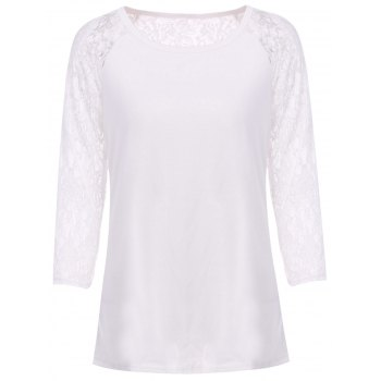 Fresh Style Solid Color Hollow Out Lace Spliced Long Sleeve T-Shirt For Women