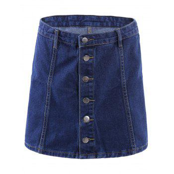 Stylish High-Waisted Button Fly Women's A-Line Denim Skirt