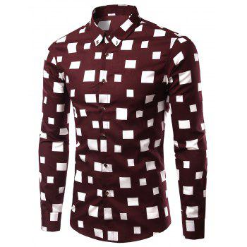 Long Sleeve Square Pattern Turn-Down Collar Men's Shirt