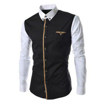 Casual Button-down Color Block Long Sleeves Shirts For Men