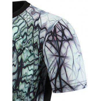 3D Abstract Geometric Print Round Neck Short Sleeve Men's T-Shirt - COLORMIX 2XL