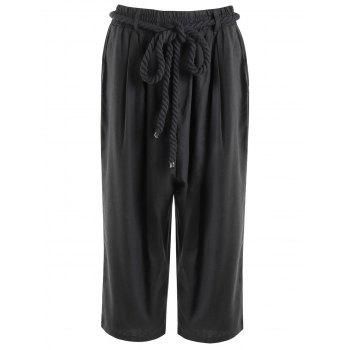 Low-Slung Crotch Lace-Up Straight Leg Men's Capri Pants