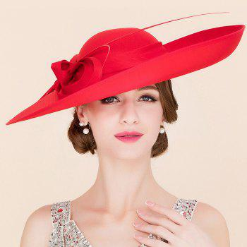 Elegant Lady Cocktails Shape and Big Bow Decorated Formal Dress Hat