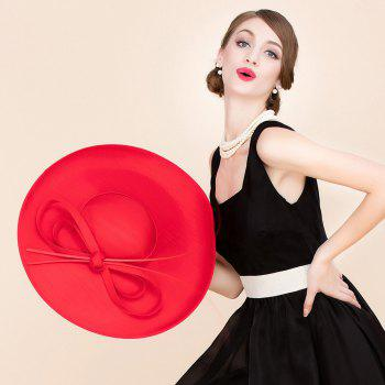 Elegant Lady Cocktails Shape and Big Bow Decorated Formal Dress Hat - RED