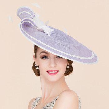 Elegant Lady Flower and Feather Design Fascinator Headband Wedding Tea Party Light Purple Cocktails Hat - LIGHT PURPLE