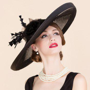 Elegant Lady Fascinator Bandeau Fleur de mariage de plume Tea Party Black Cocktails Chapeau de paille - Noir